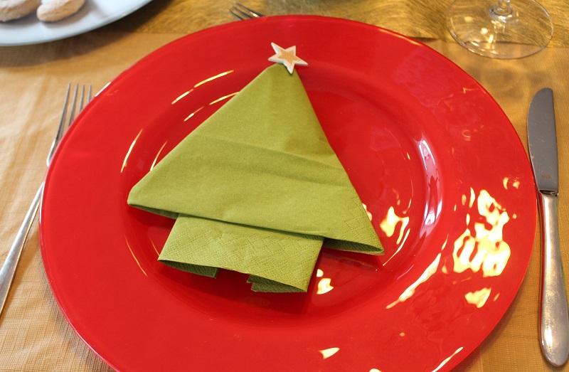 Servietten Falten Fur Weihnachten Ein Tannenbaum Auf Rotem Geschirr