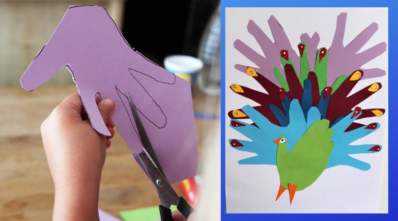 Basteln Mit Kindern Und Papier Ein Pfau Aus Kleinen Händen